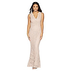 Quiz - Mocha lace scallop v neck fishtail maxi dress