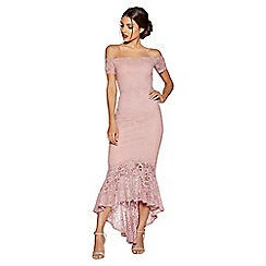 Quiz - Rose pink lace v bar maxi dress