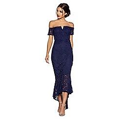 Quiz - Navy lace v bar maxi dress