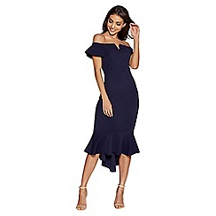 Quiz - Navy crepe bardot v bar dip hem dress