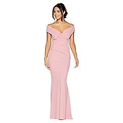 Quiz - Mauve crepe bardot wrap front fishtail maxi dress