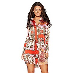 Quiz - Pink and red satin scarf print shirt dress