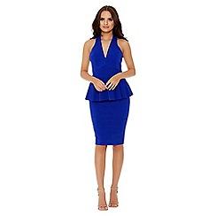 Quiz - Royal blue plunge peplum dress
