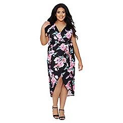 Quiz - Curve black and pink floral print dip hem dress