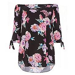 Quiz - Curve black and pink floral bardot tunic dress