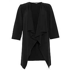 Quiz - Black waterfall front 3/4 ruched sleeve jacket