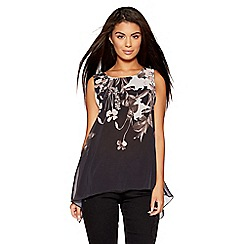 Quiz - Black and pink butterfly print top