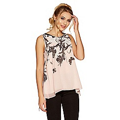 Quiz - Pink and black butterfly print top