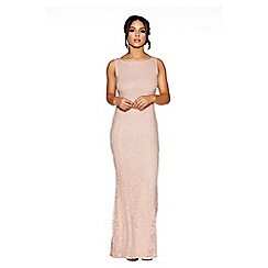 Quiz - Pink glitter lace fishtail maxi dress