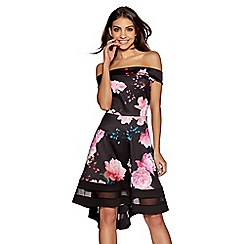 Quiz - Black and pink floral bardot dip hem dress