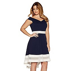 Quiz - Curve navy and cream bardot skater dress