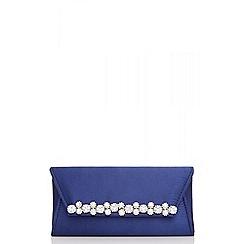 Quiz - Navy satin pearl and diamante trim bag