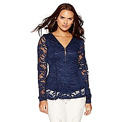 Quiz - Navy lace zip front tassel detail top
