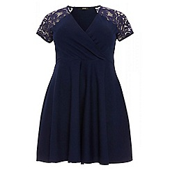 Quiz - Curve navy lace sleeve wrapover skater dress