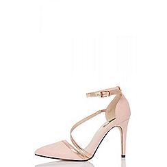 Quiz - Pink faux suede slant strap court shoes