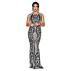 Quiz - Navy and nude sequin mesh high neck fishtail maxi dress