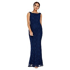 Quiz - Navy glitter lace fishtail maxi dress