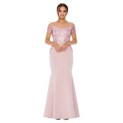525f08b8840 Quiz - Pale pink cold shoulder sequin embellished maxi dress
