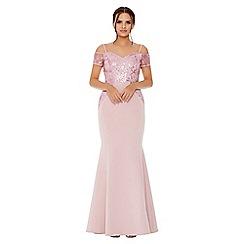 Quiz - Pale pink cold shoulder sequin embellished maxi dress
