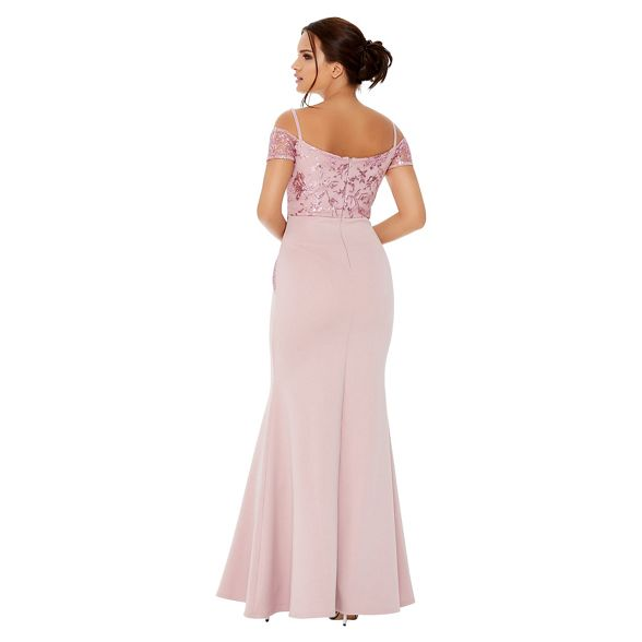 cold shoulder maxi pink sequin embellished Quiz dress Pale Rw4ZxqqEH