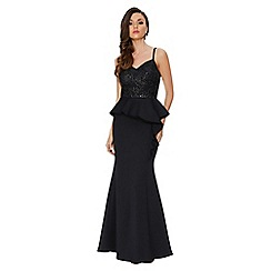 Quiz - Black strappy sequin embellished peplum maxi dress