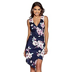 Quiz - Navy and pink floral print wrap front dress
