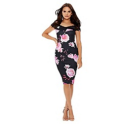 Quiz - Black and pink floral print lace trim dress