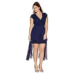 Quiz - Curve navy glitter wrap over dip hem dress
