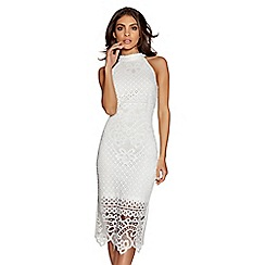 Quiz - Cream lace high neck midi dress