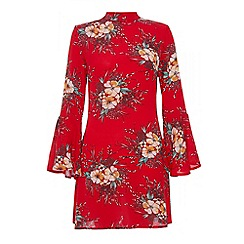 Quiz - Red crepe high neck flute sleeve dress