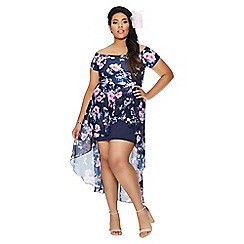 Quiz - Curve navy and pink floral print dip hem dress