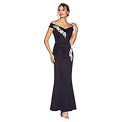 Quiz - Navy and cream bardot embroidered maxi dress