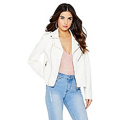 Quiz - White gold zip biker jacket