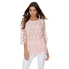 Quiz - Pink crochet 3/4 sleeve top