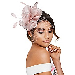 Quiz - Mauve feather net fascinator