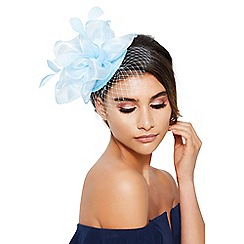 Quiz - Light blue feather net fascinator