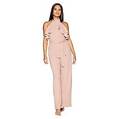 Quiz - Blush pink crepe frill halter neck jumpsuit