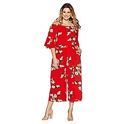 Quiz - Curve red crepe floral bardot frill jumpsuit