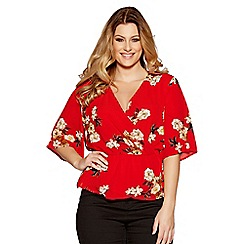 Quiz - Curve red crepe floral crossover top
