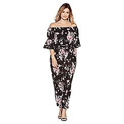 Quiz - Curve black and pink floral print bardot jumpsuit