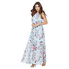 Quiz - Blue floral print chiffon high neck sleeveless maxi dress