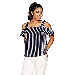 Quiz - Navy and white stripe cold shoulder top