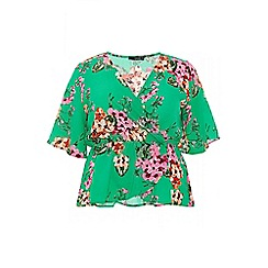 Quiz - Curve green and pink crepe floral top
