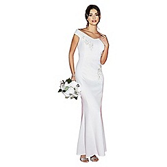 Quiz - Gracie white bardot embroidered trim fishtail bridal dress