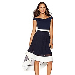 Quiz - Navy and cream mesh bardot skater dress