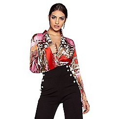 Quiz - Pink and red satin scarf print flute sleeve bodysuit