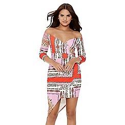 Quiz - Pink and red scarf print bardot 3/4 sleeve dress