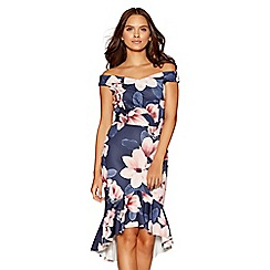 Quiz - Navy and pink floral dip hem dress