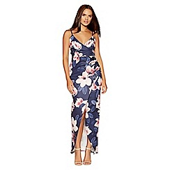 Quiz - Navy and pink strappy split maxi dress