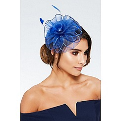 Quiz - Blue flower spiral fascinator